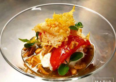 Parmigiana - a modo-mio - Melanzana al forno, Burrata, Pomodori confit e Mandorle
