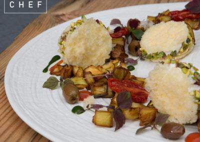 Croccante di Parmigiano, Robiola e Melanzane al funghetto